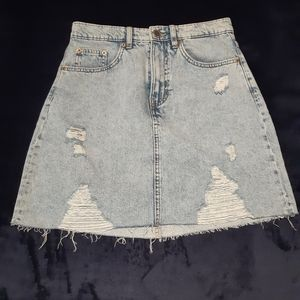 NWOT distressed denim skirt